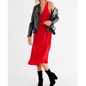 UO red satin smocked midi dress, size extra small